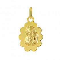 Nietypowy złoty medalik z wizerunkiem Matki Boskiej Częstochowskiej