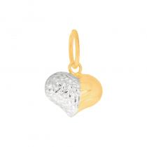 Złota zawieszka dwustronne serduszko na pół z białym złotem