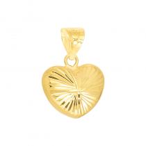 Złota zawieszka dwustronne serduszko diamentowane