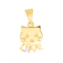 Złota zawieszka kotek napis LOVE z cyrkonią