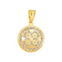 Złota zawieszka ażurowe kółko z diamentowanym białym złotem