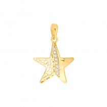 Złota zawieszka ażurowa gwiazdka z cyrkoniami