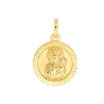Złota zawieszka medalik z Matką Boską Częstochowską
