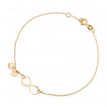 Złota bransoletka ze znakiem nieskończoności i serduszkami