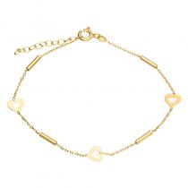 Złota bransoletka z serduszkami Grawer GRATIS