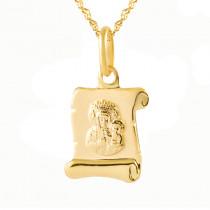 Złoty komplet medalik papirus z łańcuszkiem Prezent Grawer GRATIS