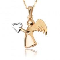 Czarująca złota zawieszka aniołek z serduszkiem