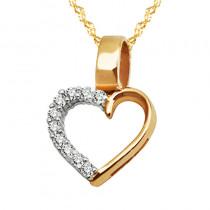 Złoty komplet łańcuszek z wytwornym serduszkiem