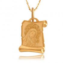 Uroczy złoty medalik z Matką Boską