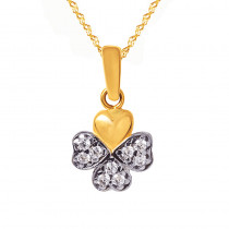 Niezwykły złoty komplet koniczynka z łańcuszkiem prezent Grawer GRATIS