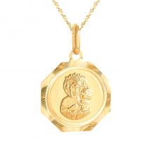 Złoty komplet medalik Matka Boska Częstochowska z łańcuszkiem