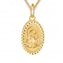 Złoty komplet medalik z Madonną i łańcuszek