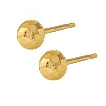 Złote kolczyki diamentowane półkulki na wkrętki