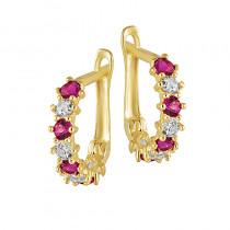 Piękne złote kolczyki dziecięce z ciemno różowymi kryształkami