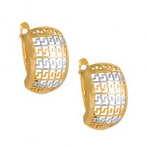 Złote kolczyki Grecki wzór z białym złotem