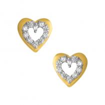 Złote kolczyki podwójne serduszka z cyrkoniami