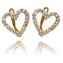 Złote kolczyki w kształcie serca