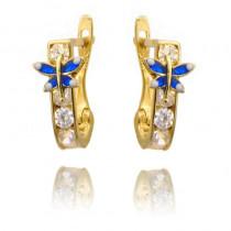 Złote kolczyki niebieskie motylki
