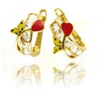 Złote kolczyki z serduszkie i motylkiem