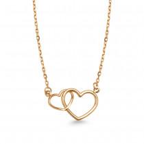 Złoty naszyjnik celebrytka 585 dwa połączone serca