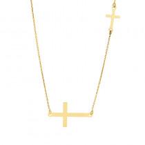 Złoty naszyjnik celebrytka podwójny krzyżyk
