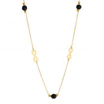 Złoty naszyjnik ze znakiem nieskończoności i czarnymi cyrkoniami