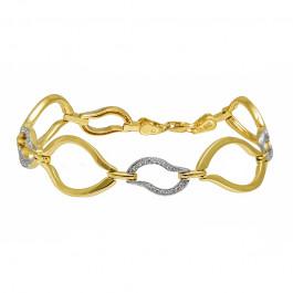 Złota bransoletka z białym złotem ozdobiona lśniącymi kryształkami Prezent Grawer GRATIS