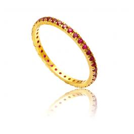 Złoty pierścionek z różowymi cyrkoniami