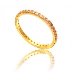 Złoty pierścionek z jasnoróżowymi cyrkoniami