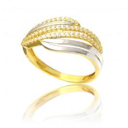 Wytworny złoty pierścionek z żółtego i białego złota