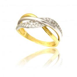 Gustowny złoty pierścionek z cyrkoniami