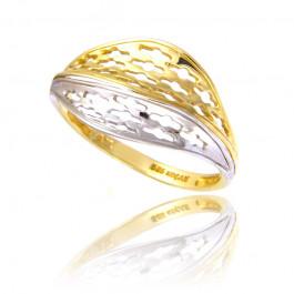 Dwukolorowy interesujący złoty pierścionek