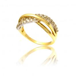Elegancki pierścionek z żółtego złota i cyrkoniami