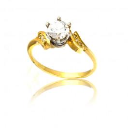 Tradycyjny i wytworny pierścionek z żółtego złota