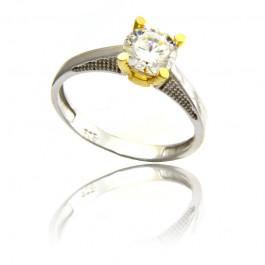 Nowoczesny pierścionek z biało-żółtego złota Prezent Grawer GRATIS