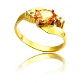Złoty pierścionek z barwnymi cyrkoniami