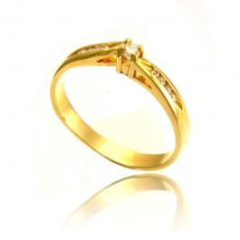 Złoty subtelny pierścionek zaręczynowy Prezent Grawer GRATIS