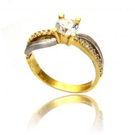 Klasyczny dwukolorowy złoty pierścionek z cyrkoniami