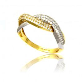 Złoty szykowny pierścionek z żółtego i białego złota