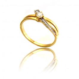 Złoty pierścionek subtelnie zdobiony