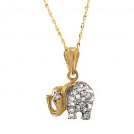 Złoty komplet słonik z cyrkoniami i łańcuszek