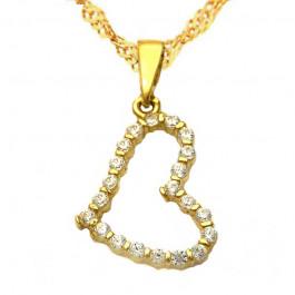 Złoty komplet  łańcuszek z sercem i lśniącymi kryształkami