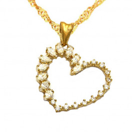 Złoty komplet łańcuszek z sercem i iskrzącymi się kryształkami