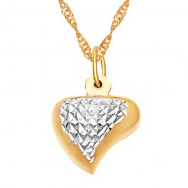 Złoty łańcuszek lśniące serce