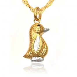 Złoty komplet diamentowany pingwinek z łańcuszkiem