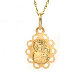 Elegancki złoty komplet z medalikiem