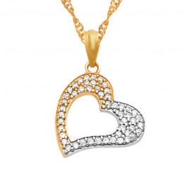 Złoty łańcuszek dwukolorowe serce prezent