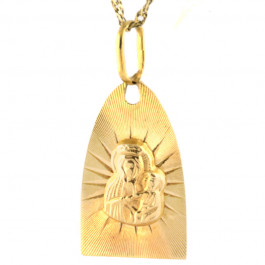 Efektowny złoty komplet medalik z łańcuszkiem
