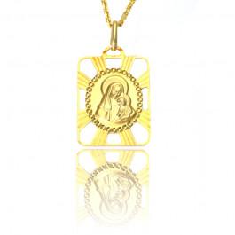 Złoty medalik z Matką Boską i dzieciątkiem