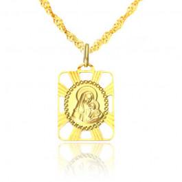 Złoty komplet urzekający medalik z Matką Boską z łańcuszkiem